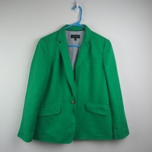 Talbots 100% Linen Green One Button Blazer(14)